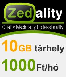 10GB tárhely 1000 Ft/hó